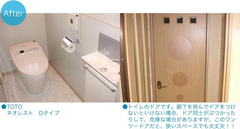 ●TOTOネオレストDタイプ●トイレのドアです。廊下を挟んでドアをつけ ないといけない場合、ドア同士がぶつかったりして、危険な場合がありますが、このワンツードアだと、狭いスペースでも大丈夫!!